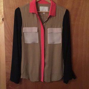 Colorblock Jcrew silk blouse